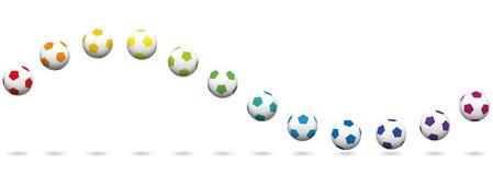 Футбольные мячи развевают красочная картина безшовная Стоковая Фотография RF