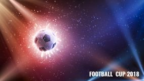 Футбольный мяч в мухе Предпосылка футбола с огнем искрится в действии на черноте Футбол предпосылки чемпионата мира панорама стоковое изображение rf