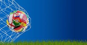 Футбольный мяч в цели 3d-illustration Стоковое Изображение RF