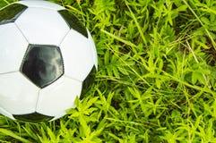 Футбольный мяч на зеленой траве - месте для текста стоковые фотографии rf