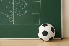 Футбольный мяч около доски со схемой футбольного матча стоковое изображение