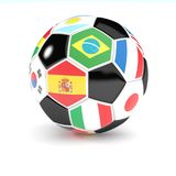 Футбольный мяч с флагами 3D представляет Стоковые Изображения RF