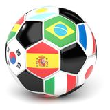Футбольный мяч с флагами 3D представляет Стоковые Фото
