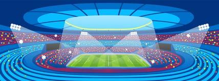 Футбольный стадион во время спички спорт Поле арены футбола Стоковое Изображение RF