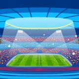 Футбольный стадион во время спички спорт Поле арены футбола Стоковые Изображения