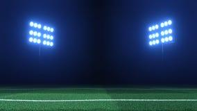 Футбольный стадион освещает рефлекторы против черной предпосылки и так иллюстрация штока
