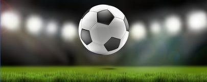 Футбольный стадион 3d-illustration футбольного мяча иллюстрация вектора
