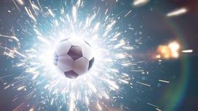 футбол футбол горящего стекла шарика aqua Драматическая предпосылка футбола с огнем искрится в действии сток-видео
