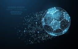 футбол горящего стекла шарика aqua Низкая поли сетка wireframe на синей предпосылке Символ, иллюстрация или предпосылка футбола Стоковые Фотографии RF