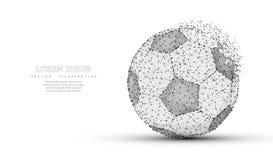 футбол горящего стекла шарика aqua Низкая поли сетка wireframe Символ, иллюстрация или предпосылка футбола Стоковое Фото