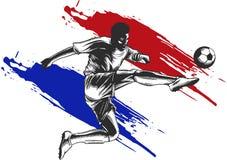 футбол игрока шарика пиная иллюстрация спорта иллюстрация вектора