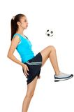 футбол игрока девушки Стоковая Фотография