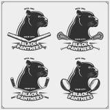 Футбол, лакросс, бейсбол и логотипы и ярлыки хоккея Эмблемы спортивного клуба с пантерой Стоковое Изображение