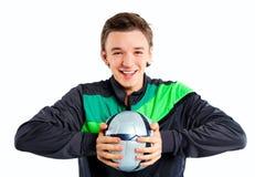 футбол мальчика шарика Стоковое Изображение RF
