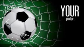 Футбол поднимая, засорянный футбольный мяч витал через сетку недостаток иллюстрация штока