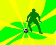 футбол силуэта игрока Стоковое Изображение RF