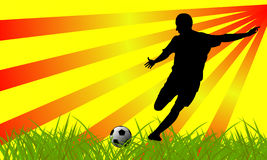 футбол силуэта игрока Стоковые Изображения