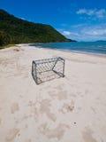 футбол цели пляжа Стоковое фото RF