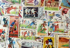Футбол штемпелей почтового сбора стоковые изображения