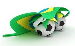 футбол 2 владением флага Бразилии шариков Стоковые Фотографии RF