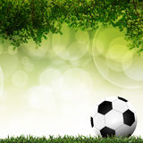 Футбол в зеленой траве с предпосылкой красочной иллюстрация вектора