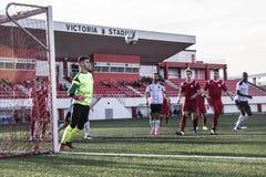 Футбол Гибралтара - четвертьфиналы чашки утеса пункта Европы Европы v Стоковое Изображение