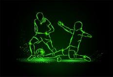 Футбол Драка для шарика снасть неон икон предпосылки черный установил тип 6 стоковое фото rf