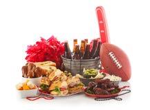 Футбол: Еда и вещество дня игры готовые для партии Стоковое Изображение RF
