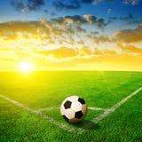 футбол зеленого цвета травы шарика Стоковое Изображение RF
