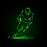 Футбол Игрок бежит прочь с шариком неон икон предпосылки черный установил тип 6 стоковая фотография