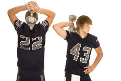 2 футболиста с весами Стоковые Изображения RF