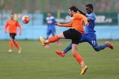 Футболисты воюя для шарика Стоковая Фотография RF