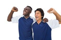 Футболисты празднуя выигрыш Стоковые Изображения RF