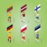 Футболисты с флагами: Германия, Латвия, Эстония, Литва Стоковое Фото