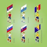 Футболисты с флагами: Словакия, Словения, Сербия, Сан mar Стоковая Фотография
