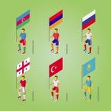 Футболисты с флагами: Georgia, Турция, Казахстан, Россия Стоковые Изображения RF