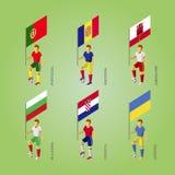 Футболисты с флагом: Польша, Андорра, Гибралтар, Хорватия, Стоковое Фото