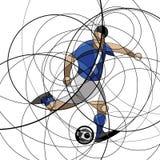 Футболист в голубом и белом платье Стоковая Фотография RF
