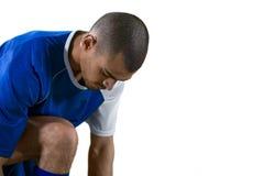 Футболист получая готовый для игры стоковые изображения rf