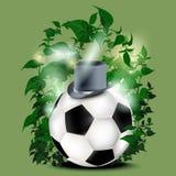 Футбол и зеленая предпосылка иллюстрация вектора