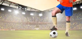 Футбол или футболист на стадионе Стоковые Изображения RF