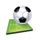 Футбол и поле изолированные на белизне Иллюстрация вектора
