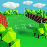 Футбол и спортивная площадка иллюстрация вектора