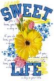 Футболка Apprel Жизнь помадки цитат Красивый цветок цветов изолированный на белой предпосылке Стоковое Фото