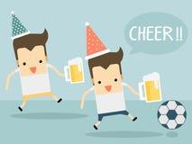 Футбол приветственного восклицания с пивом Стоковая Фотография