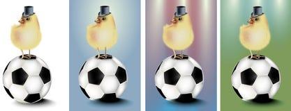 Футбол с абстрактными предпосылкой и цыпленком иллюстрация вектора