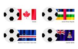 Футбол с флагом Канады, центрально-африканских, Кабо-Верде и Кеймана иллюстрация штока
