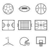 Футбол футбола и линия комплект шарика корзины иллюстрации иллюстрация вектора