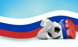 Футбол футбола Россия 2018 3d представляет изолированный Стоковое Изображение