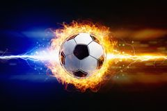 футбол шарика горящий стоковая фотография